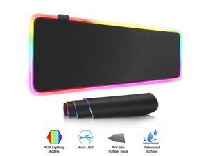 Oversize RGB Gaming Mouse Pad (31.5 x 11.8 inch), Computer Mousepad RGB Large Mouse Pad, For PC Desk Play Mat, With Backlit , With 7 Color Lighting And Five RGB Effects