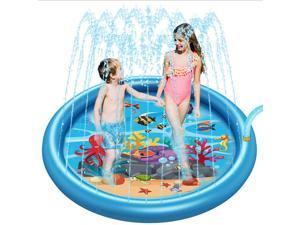 "Sprinkler Pad & Splash Play Mat 68"" Toddler Water Toys Fun for 3 4 5 6 Years Old Boy Girl,Kids Outdoor Party Sprinkler Toy"
