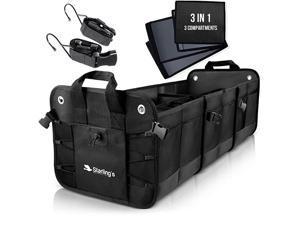 Car Trunk Organizer - Durable Storage SUV Cargo Organizer Adjustable (Black, 3 Compartments)