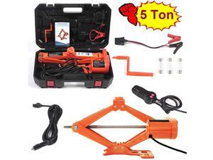 Car Floor Jack 5 Ton All-in-one Automatic 12V Scissor Lift Jack Set for SUV w/Remote Tire Change Repair Emergency Tool Kits Floor Jack for Vehicle Wheel Change (5T)