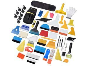 Vehicle Vinyl Wrap Tool Kit Car Window Tinting Tool Set Window Film Vinyl Wrap Kit Including Vinyl Squeegees, Scrapers, Vinyl Cutting Tool, Wrapping Magnets Holder, Tool Pouch