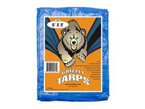 Grizzly Tarps - Large Multi-Purpose, Waterproof, Tarp Poly Cover - 5 Mil Thick (Blue - 6 x 8 Feet)