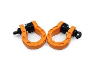 """Mega Shackles Orange (2PK)   68,000 lbs Capacity - Stronger than 3/4"""" D Rings   Tow Shackle + 7/8"""" Pin + Washers   Securely Connect Tow Strap or Winch Rope to 4x4 for Off-Road 4x4 Recovery"""