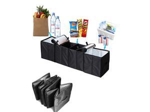 Car Trunk Organizer, 4 in 1 Auto Truck Storage Container Foldable Multi 4 Compartments Storage Basket and Cooler & Warmer Set, Black