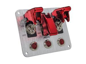 PL-SW53R Performance 3 Row Red Anodized Safety Cover Toggle Switch with Red Indicator Lights