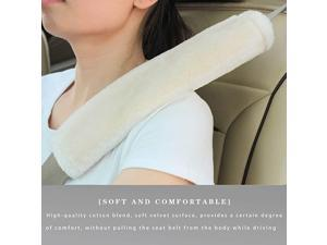 Faux Sheepskin Seat Belt Shoulder Pad for a More Comfortable Driving, Compatible with Adults Youth Kids - Car, Truck, SUV, Airplane,Carmera Backpack Straps 2 Packs Beige