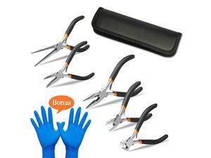Pieces Mini Pliers, Long Lasting Tool Set Cable Cutters – Long Needle Nose, Long Nose, Nipper Bent Nose, End Cutting, Diagonal Cutting, Precision Pliers Set