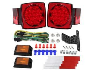 Trailer Light Kit DOT Certified Utility Trailer Lights for Boat RV Car Easy Assembly with Wire Harness Wafer LED Waterproof Durable All-in-one Tail Light Kit for Under 80 Inch