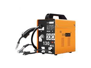 MIG Welder 130 Flux Core Wire Automatic Feed Welding Machine Portable No Gas 110V DIY Home Welder w/Free Mask Yellow