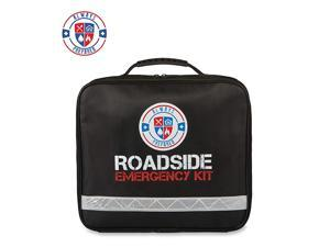 62 Piece Roadside Emergency Assistance Kit with Jumper Cables - All-in-One Auto, Visibility, Safety, and First Aid Essentials
