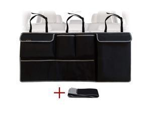 Backseat Trunk Organizer - Auto Hanging Seat Back Storage - Multipurpose go Accessory - Space Saving Facilitator for SUV, Hatchback, Crossover, Minivan, Jeep - Black