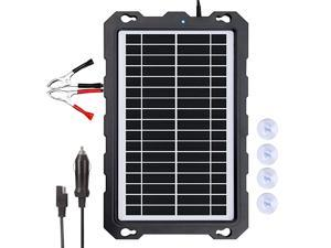 9W-Solar-Battery-Trickle-Charger-Maintainer -12V Portable Waterproof Solar Panel Trickle Charging Kit for Car, Motorcycle, Boat, Marine, RV, Trailer, Powersports, Snowmobile, etc.