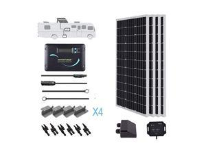 400 Watts 12 Volts Monocrystalline Solar RV Kit Off-Grid Kit with Adventurer 30A PWM LCD Charge Controller+ Mounting Brackets+ Male and Female Connectors+Solar Cables+Cable Entry housing