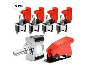 90014E Heavy Duty Rocker Toggle Switch 12V 20A Red Cover SPST ON/Off 2Pin Car Truck Boat-5 Pack, 2 Years Warranty