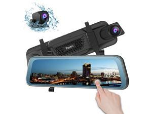 Dash Cam Front and Rear, 1080P FHD 9.66 inch Full Touch Screen Rear View Dual Dash Cam with 720P Backup Camera, Super Night Vision, G Sensor, Parking Monitor, Loop Recording
