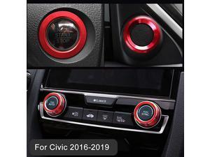 Audio Speaker Engine Auto Press Start Ignition AC Climate Knob Ring Sticker for 10th Gen Honda Civic