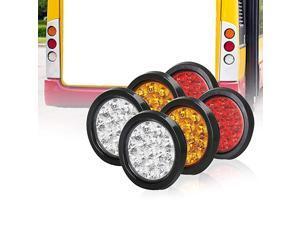Round Led Tail lights with Rubber Grommet 2Amber+2Red+2White 1224V 16LED Waterproof BrakeStopTurn Tail Marker light for RV Trucks TrailerSet Of 6