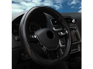 D Shaped Steering Wheel Cover - Leather Flat Bottom Black D Cutting Steering Wheel Cover Women's Men's Universal 15 Inch Breathable Massage Non Slip Design for Better Grip 131D Black