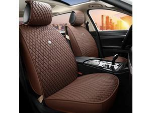 Brown Leather Car Seat Cover Universal Front and Rear Seat Cushions with Airbag Compatible 9PCS Seat Covers Set Fit Most Car Auto Suv (B-Brown)