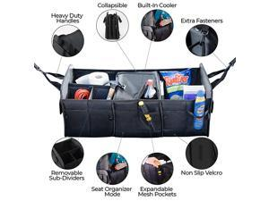 Car Trunk Organizer Seat and Storage - Food and Drinks Cooler to Keep your Chiller Foods Fresh – Lots of Pockets and Compartments to Save Space, Collapsible, Wear-Resistant and Waterproof