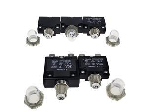 5pcs Push Button Rese5A 10A 15A 20A 30A CircuiBreakers with Quick ConnecTerminals and Waterproof Button Cap