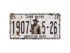 White John Wayne 1907 American Hero Vintage License Plate