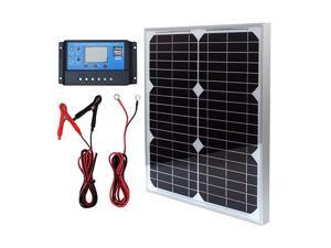 Solar Panel Kit 20W 12V Monocrystalline with 10A Solar Charge Controller + Extension Cable with Battery Clips O-Ring Terminal for RV Marine Boat Off Grid System