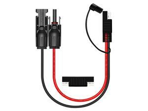 Solar to SAE Adapter 10 AWG Cable Connector with 1pcs SAE to SAE Polarity Reverse Connectors for RV Panel Solar Black+Red