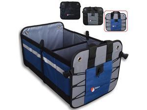 Trunk Organizer for Organization - Trunk Organizers and Storage for , SUV, Sedan, Truck - Sturdy Detachable Lid, 2 Compartments, 10 Exterior Pockets, Tie-Down Straps, Non-Slip Feet (Blue)