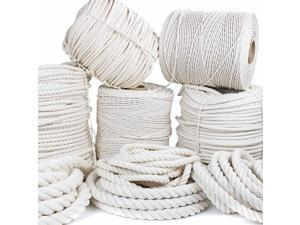 Twisted 100% Natural Cotton Rope - White Cotton Rope - (1.25 Inch x 100 Feet)