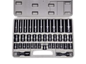 """Complete 3/8"""" and 1/2"""" Drive Impact Socket Set, Inch (SAE) /Metric, Cr-V, 6-Point, 3/8""""- 1-1/4"""", 8 mm - 24 mm, Deep & Shallow, 38-Piece Impact Socket Set"""