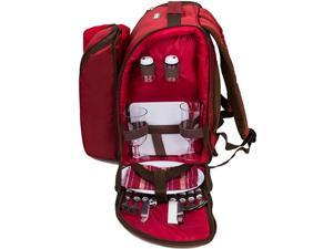 2 Person Red Picnic Backpack with Cooler Compartment Includes Tableware amp Fleece Blanket 45quotx53quotred