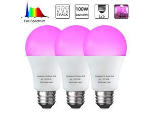 Pack LED Indoor Plant Grow Light Bulb A19 Bulb Full Spectrum Plant Light Bulb 9W E26 Grow Bulb Replace up to 100W Grow Light for Indoor Plants Flowers Greenhouse Indore Garden Hydroponic