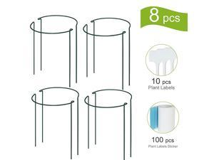 Plant Support Stake 8Pack Half Round Metal Garden Plant Supports Green Garden Plant Support Ring Garden Border Supports Plant Support Ring Cage for Tomato Roses Hydrangea Flowers Vine