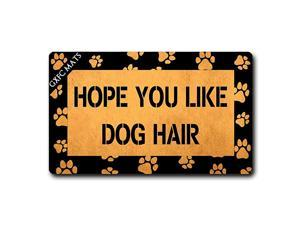 Welcome Mat with Rubber Back Hope You Like Dog Hair Funny Dog Theme Door Mats Funny Doormat for Entrance Way Monogram Mats for Front Door Mat No Slip Kitchen Rugs and Mats 30quotL x 18quotW