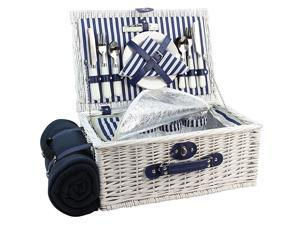 Basket Willow for 4 Persons Large Wicker Hamper Set with Big Insulated Cooler Compartment Free Fleece Blanket with Waterproof Backing and Cutlery Service Kit Fashionable White Washed Color