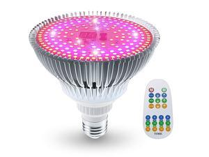 100W LED Grow Light Bulb Full Spectrum Remote Control Plant Lamp 3 Mode Grow Light with Timer for Hydroponic amp Greenhouse Indoor Plants Flowers Vegetables Growing E26 Base186 LEDs
