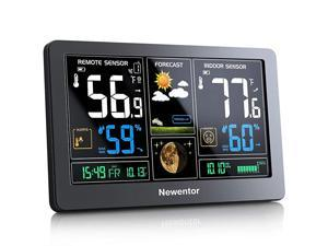 Weather Station Wireless Indoor Outdoor Thermometer Color Display Digital Weather Thermometer with Atomic Clock Forecast Station with Calendar and Adjustable Backlight
