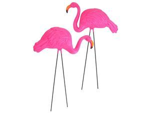 Pack of 2 Large Bright Pink Flamingo Yard OrnamentFlamingo Lawn OrnamentsInk Flamingo Garden Yard Stakes