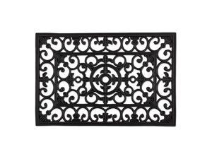 Heavy Duty Rubber Welcome Doormat Outdoor Easy Clean All Weather Floormat 18x30 Natural Wrought Iron