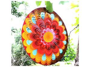 Wind Spinner 19 Guage 3D Metal 12 Inch for Garden Patio Outdoor Indoor Lawn Decoration Ornaments Gifts with Swivel Hooks Hand Painted Gift Weather Resistant Lucky Flower Gold Wind Spinners