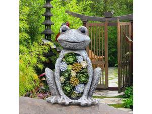 Statue Frog Figurine Waterproof Resin Succulent Plants with Solar Powered LED Lights for Halloween Patio Yard Decorations Home Decorations95 x 72 Inch