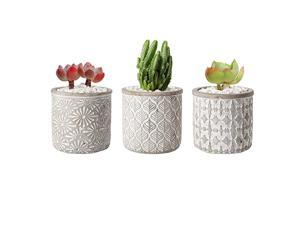 4 Inch Cement Pot Grey Set of 3 Small Concrete Succulent Round Planter Vase Plant Herb Cactus Container Window Box Holder for Home and Office Decor Birthday Wedding
