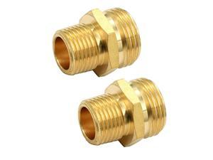 34 GHT Male x 12 NPT Male Connector Brass Garden Hose Fitting Adapter Industrial Metal Brass Garden Hose to Pipe Fittings Connect 2 Pack