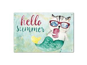 Hello Summer Pineapple Garden Yard Porch Metal Sign Outdoor Decorative Metal Plaque 12 x 8 Inch