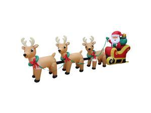 Foot Long Lighted Christmas Inflatable Santa Claus on Sleigh with 3 Reindeer amp Christmas Tree LED Lights Decor Outdoor Indoor Holiday Decorations Blow up Lawn Inflatables Home Family Outside Decor