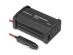 300W Power Inverter Dual 110V AC Outlet and 24A24W USB Car Charger Aluminum PC Body DC 12V to 110V AC + DC 5V USB Battery Charger for LaptopiPadiPhoneTabletPhone