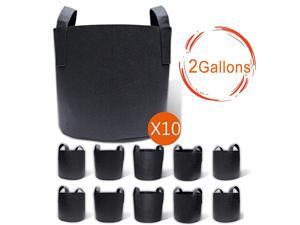 10Pack 2 Gallon Grow Bags Aeration Fabric Pots with Handles