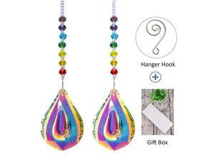 Sun Catcher Feng Shui Crystals Suncatchers for Window with Rainbow Chakra Bead and 76mm Chandelier Crystal Prism Drops 2Pcs