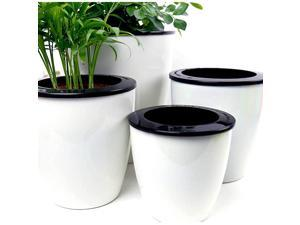 3 Pack Self Watering Planter African Violet Pots Plastic White Flower Plant Pot with Wick Rope for All House Plants Flowers Herbs Large